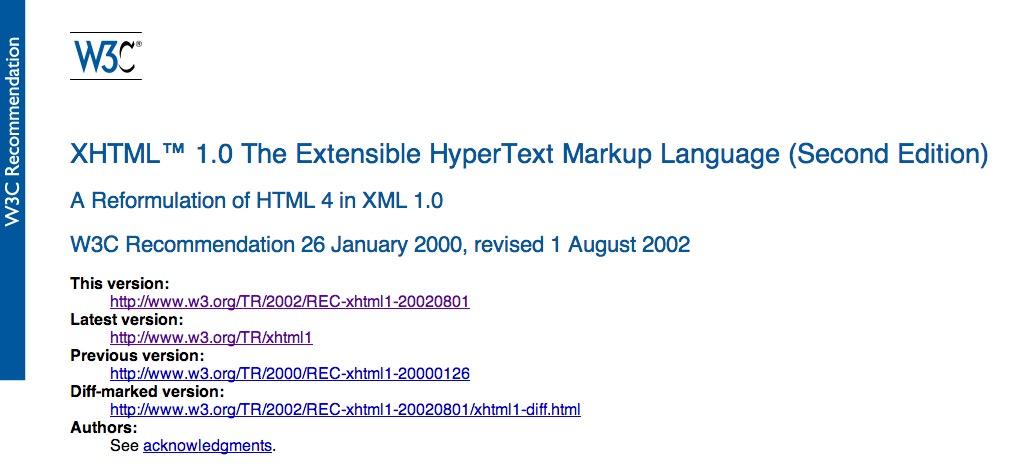 2002 - W3C - XHTML1.0