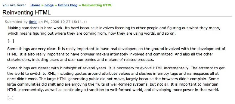 2006 Reinventing HTML von Tim Berners Lee