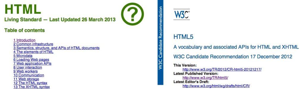 2013 - HTML bei WHATWG und W3C