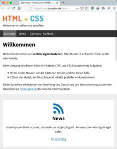 LinkedIn Learning Webtechniken lernen: 2. CSS-Grundlagen - Beispielsite
