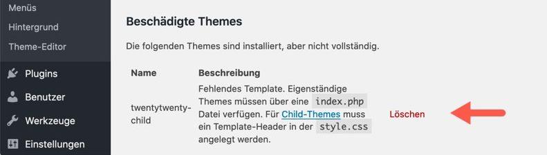Fehlermeldung: Child-Theme ohne Template-Header