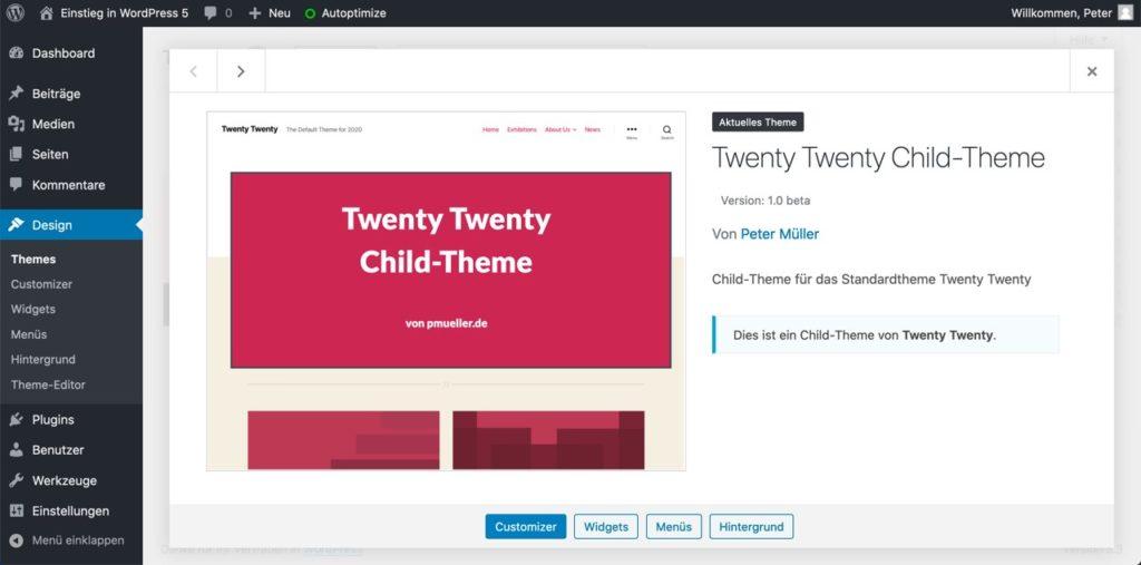 Child-Theme von Twenty Twenty mit Vorschaubild