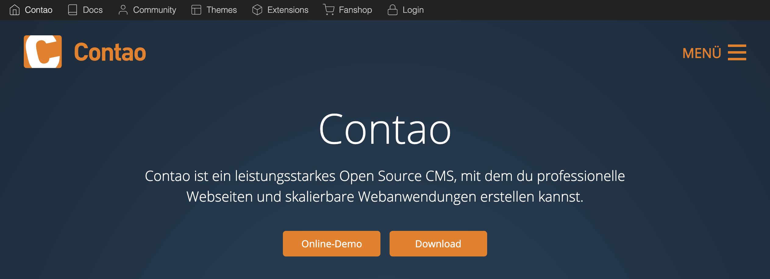 Startseite von Contao.org