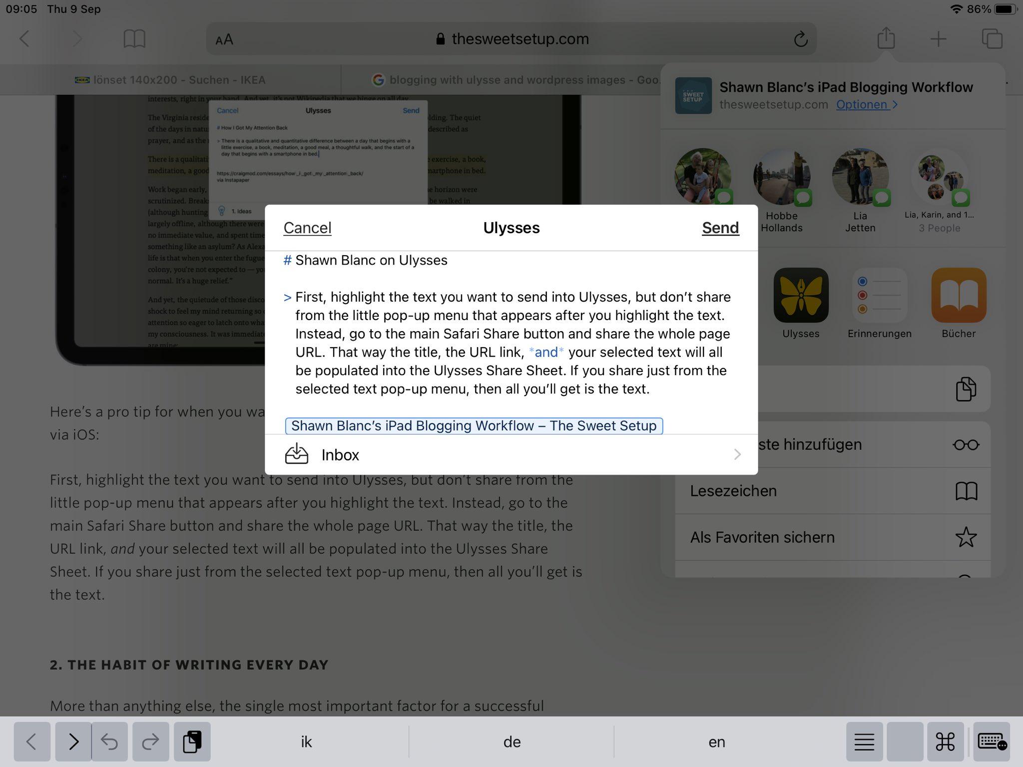 Beitrag in Safari erstellen und an Ulysses senden