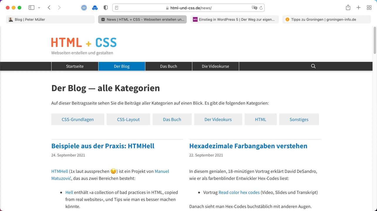 Die Farbe der Browser-Bedienleiste ändert sich mit der Webseite